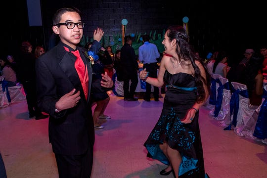 Jeremy DeAnda, a special needs student at Moody High School, dances with his escort, Jacquline Cortez, during the16th annual Special Hearts Prom at Moody High School on Wednesday, January 16, 2019.