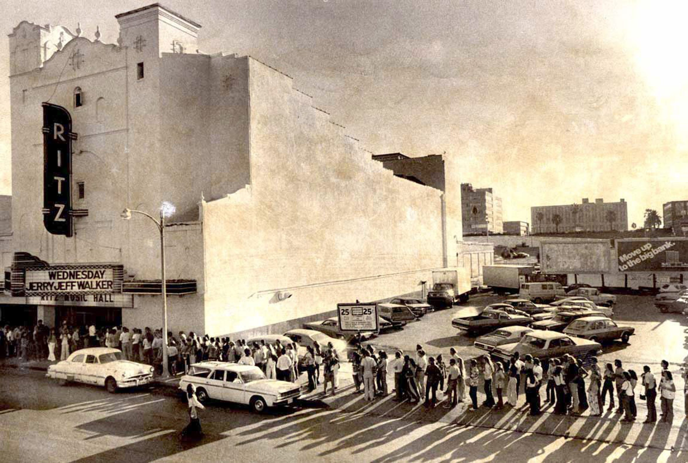 Crowds line up outside the Ritz Music Hall to hear Jerry Jeff Walker on opening night, July 25, 1974 in downtown Corpus Christi.