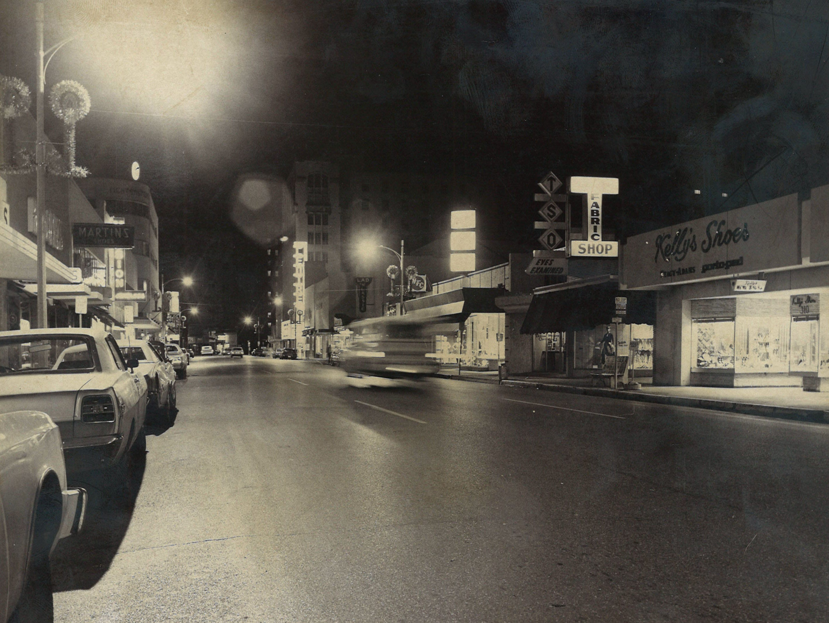 Chaparral Street at night in downtown Corpus Christi in 1973.