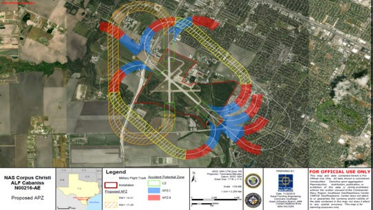 The Navy is going to make changes to APZ overlays near Cabaniss Airfield. The proposal puts a portion of the new Carroll High School site within and APZ II zone.