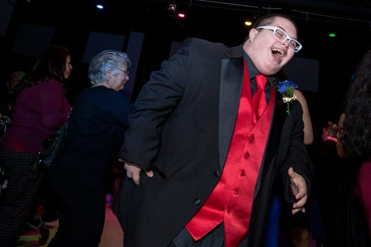 RayJ Riojas, 16, a special needs student at Moody High School, dances during the16th annual Special Hearts Prom at Moody High School on Wednesday, January 16, 2019.