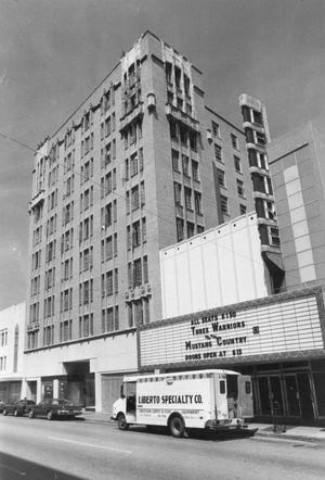 Centre Theater (right) and the Sea Gulf Villa apartments in downtown Corpus Christi on Chaparral Street in 1978.