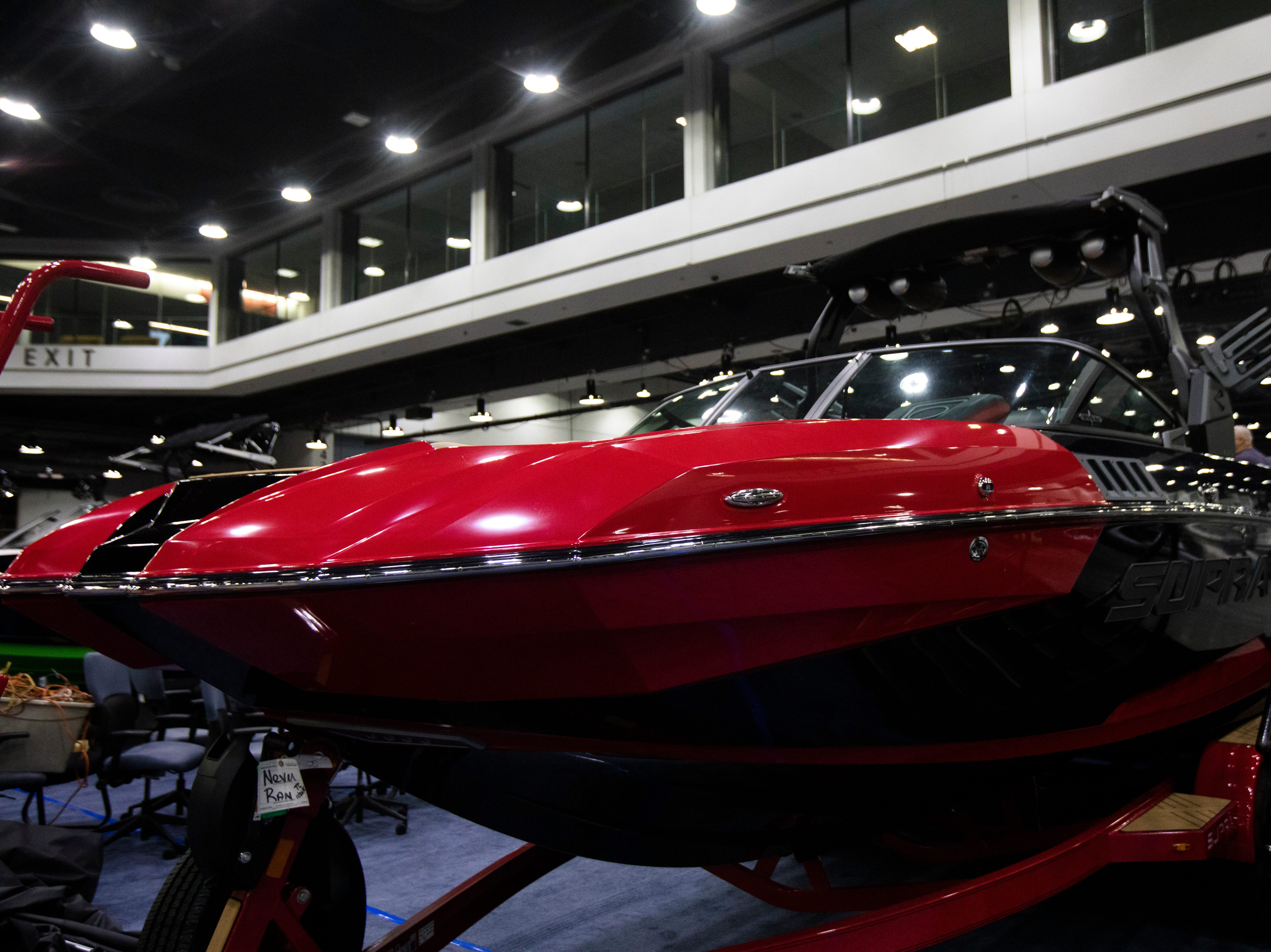 The Supra SE550, being sold for around $150,000, is set up at the Sea Ray of Cincinnati Marina The Centurion Ri257 is set up at the annual Cincinnati Travel Sports and Boat Show on Wednesday, Jan. 16, 2018 at the Duke Energy Convention Center in Downtown Cincinnati. According to the manufacturer the MSRB on the Centurion Ri257 is around $205,000.