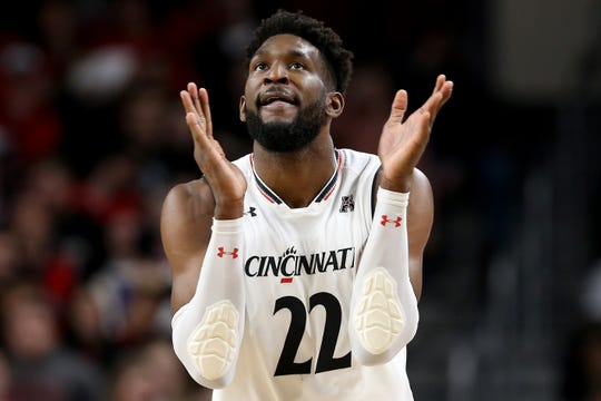 Cincinnati Bearcats forward Eliel Nsoseme (22) walks up the offensive side of the court in the first half of an NCAA college basketball game against the South Florida Bulls, Tuesday, Jan. 15, 2019, at Fifth Third Arena in Cincinnati.