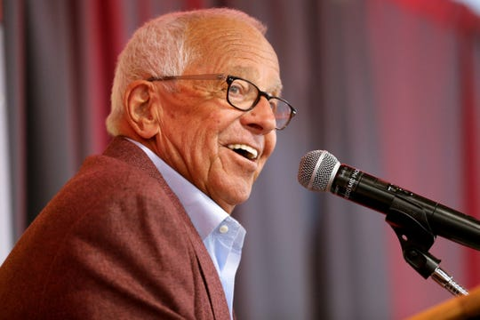 Cincinnati Reds play-by-play broadcaster Marty Brennaman answers questions at a press conference following the announcement that he will retire at the conclusion of the 2019 baseball season, Wednesday, Jan. 16, 2019, at Great American Ball Park.