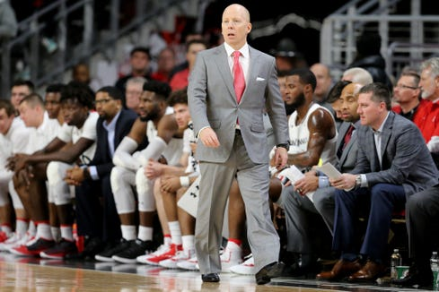 Cincinnati Bearcats head coach Mick Cronin paces the sideline in the first half of an NCAA college basketball game against the South Florida Bulls, Tuesday, Jan. 15, 2019, at Fifth Third Arena in Cincinnati.