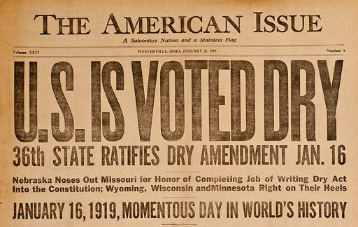 """The Anti-Saloon League newspaper, The American Issue, proclaims, """"U.S. Is Voted Dry"""" in January 1919."""