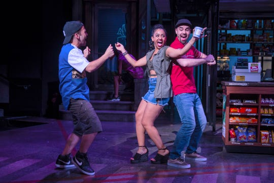 "From left, Nicolas Garza (Sonny), Stephanie Gomeréz (Vanessa) and Ryan Alvarado (Usnavi) are featured in the Playhouse in the Park's co-production of ""In The Heights."" More than a decade before Lin-Manuel Miranda created ""Hamilton: An American Musical,"" he joined together with playwright Quiara Alegría Hudes to write this homage about life in the largely Hispanic Washington Heights neighborhood in the northern reaches of Manhattan."