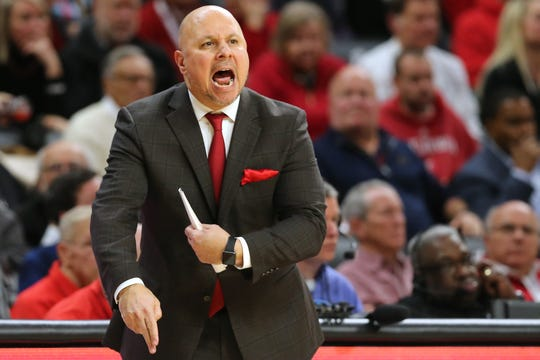 Cincinnati Bearcats associate head coach Darren Savino instructs the team after Cincinnati Bearcats head coach Mick Cronin was ejected in the second half of an NCAA college basketball game, Tuesday, Jan. 15, 2019, at Fifth Third Arena in Cincinnati. Cincinnati won 82-74.