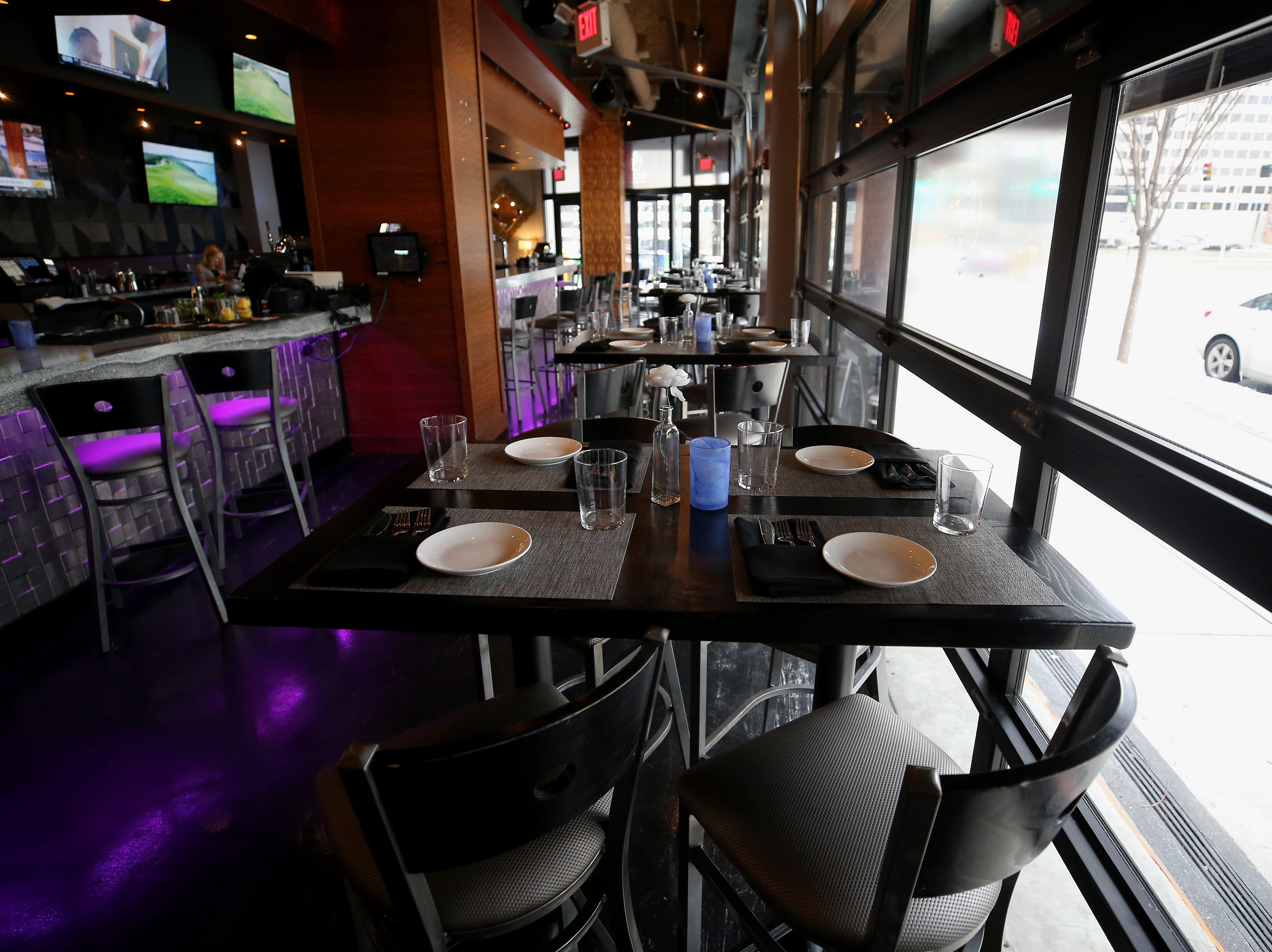 View of seating near the main bar, pictured, Tuesday, Jan. 15, 2019, at Galla Park restaurant at The Banks in Cincinnati.