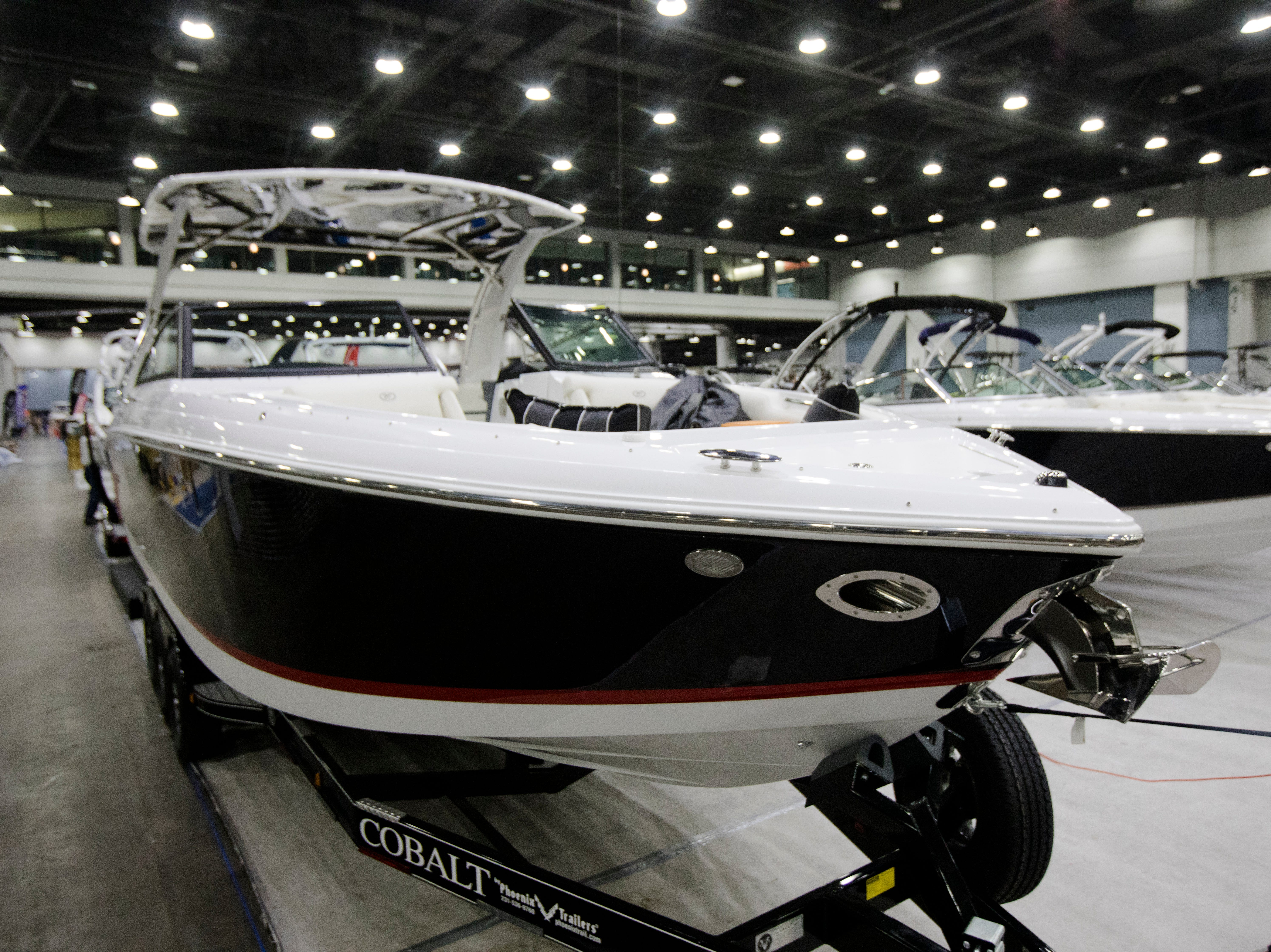The Cobolt R30 on display at the annual Cincinnati Travel Sports and Boat Show on Wednesday, Jan. 16, 2018 at the Duke Energy Convention Center in Downtown Cincinnati. The Cobolt R30 for sales MSRB price is $310,000 but will be sold at the boat show for $252,000.