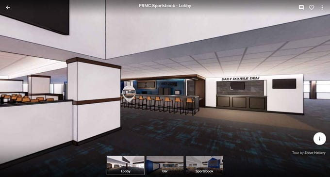 This rendering shows the bar area of the proposed fourth-floor renovations at Prairie Meadows Casino.