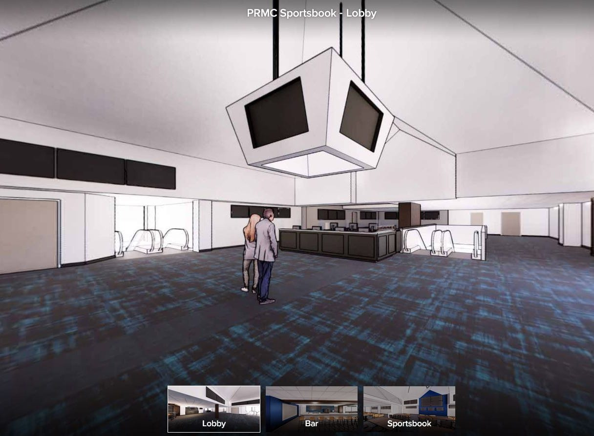 The above rendering shows plans for the lobby area in Prairie Meadows' proposed 8,600-square-foot sports betting area on its fourth level.