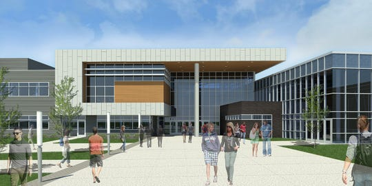 This architectural rendering shows the front entrance of Waukee's second high school that will open in 2021.