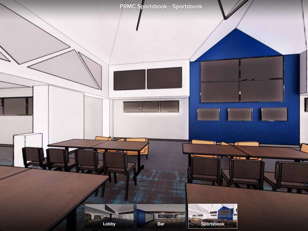 Screens are shown on the walls of the proposed sports book area at Prairie Meadows.