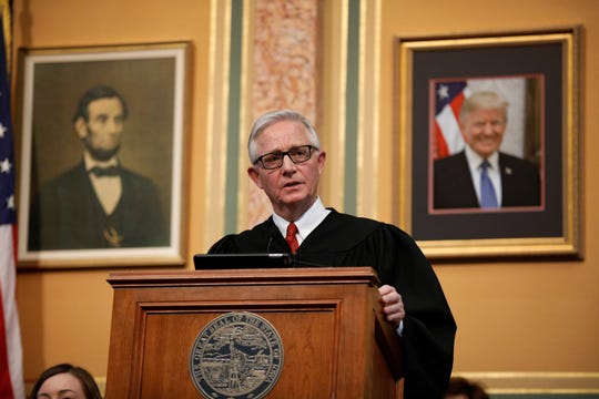 Iowa Supreme Court Chief Justice Mark Cady delivers his Condition of the Judiciary address to a joint session of the Iowa Legislature, Wednesday, Jan. 16, 2019, at the Statehouse in Des Moines, Iowa. (AP Photo/Charlie Neibergall)