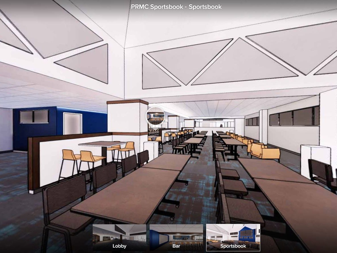 Rows of tables, chairs and screens are shown in this rendering of Prairie Meadows' planned sports book area. Construction should conclude in February.