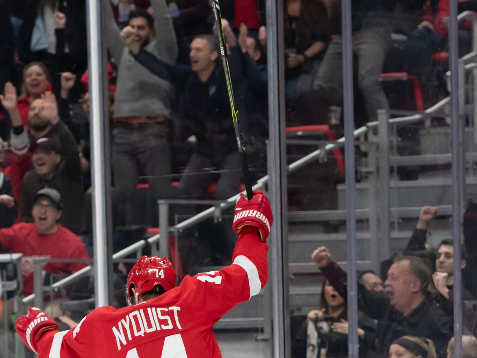 Detroit center Gustav Nyquist celebrates his third period goal.