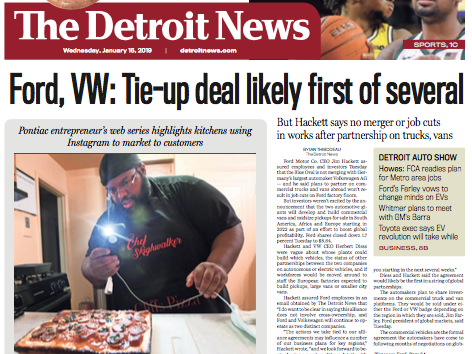 The front page of The Detroit News on Wednesday, January 16, 2019.