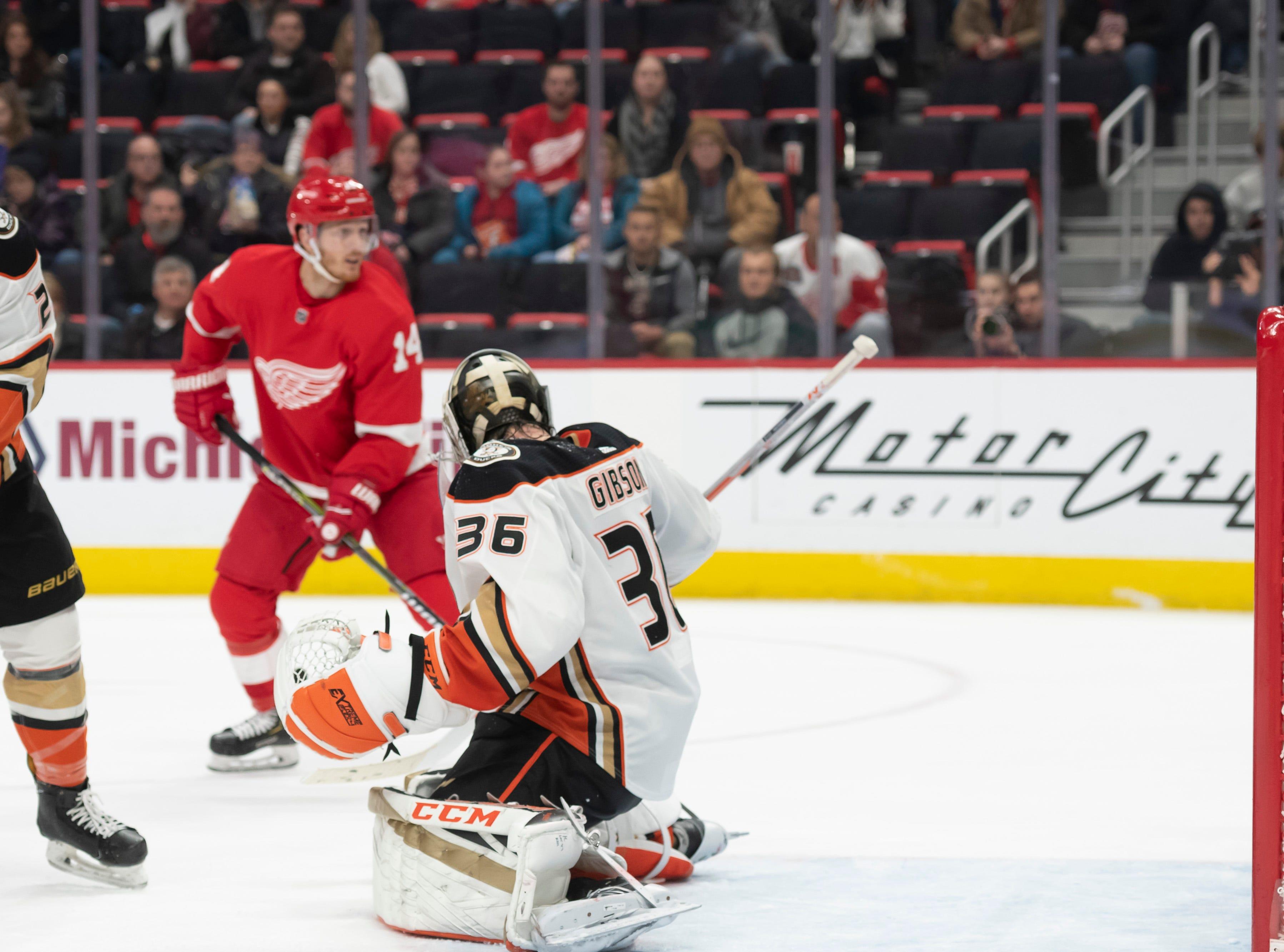 Detroit center Gustav Nyquist sends the puck past Anaheim goaltender John Gibson for a goal in the third period.