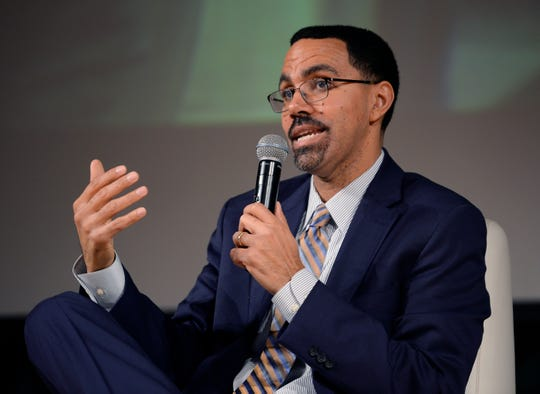 John B. King Jr., president and CEO of the Education Trust and former U.S. Secretary of Education, gives his remarks during a panel discussion on putting Michigan on the path toward overcoming inequities.
