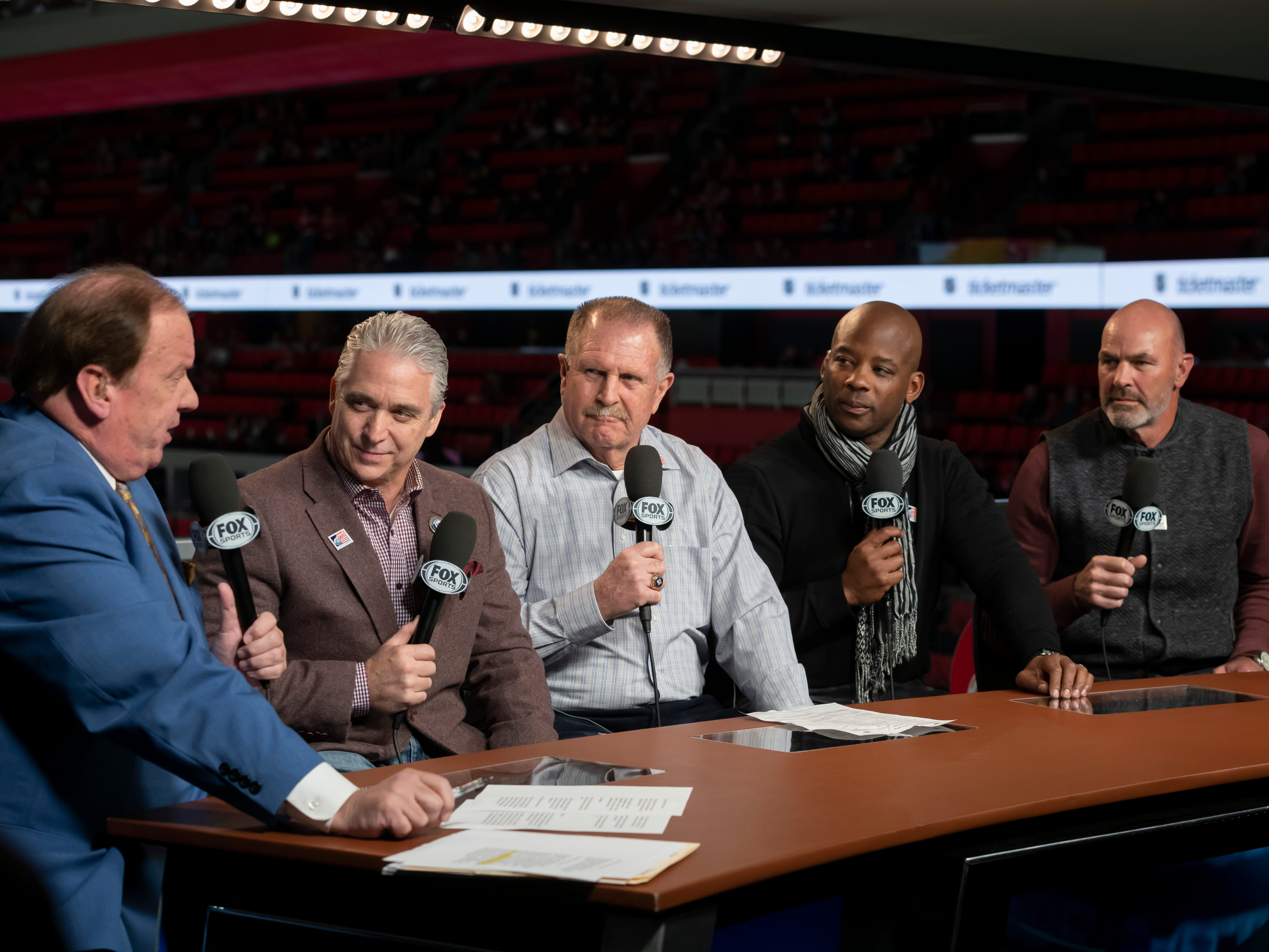 (From left) Fox Sports Detroit reporter John Keating interviews Matt Shepard, Dan Petry, Craig Monroe, and Kirk Gibson during a pre-game show.  Shepard has been chosen as the new play-by-play announcer for the Detroit Tigers.