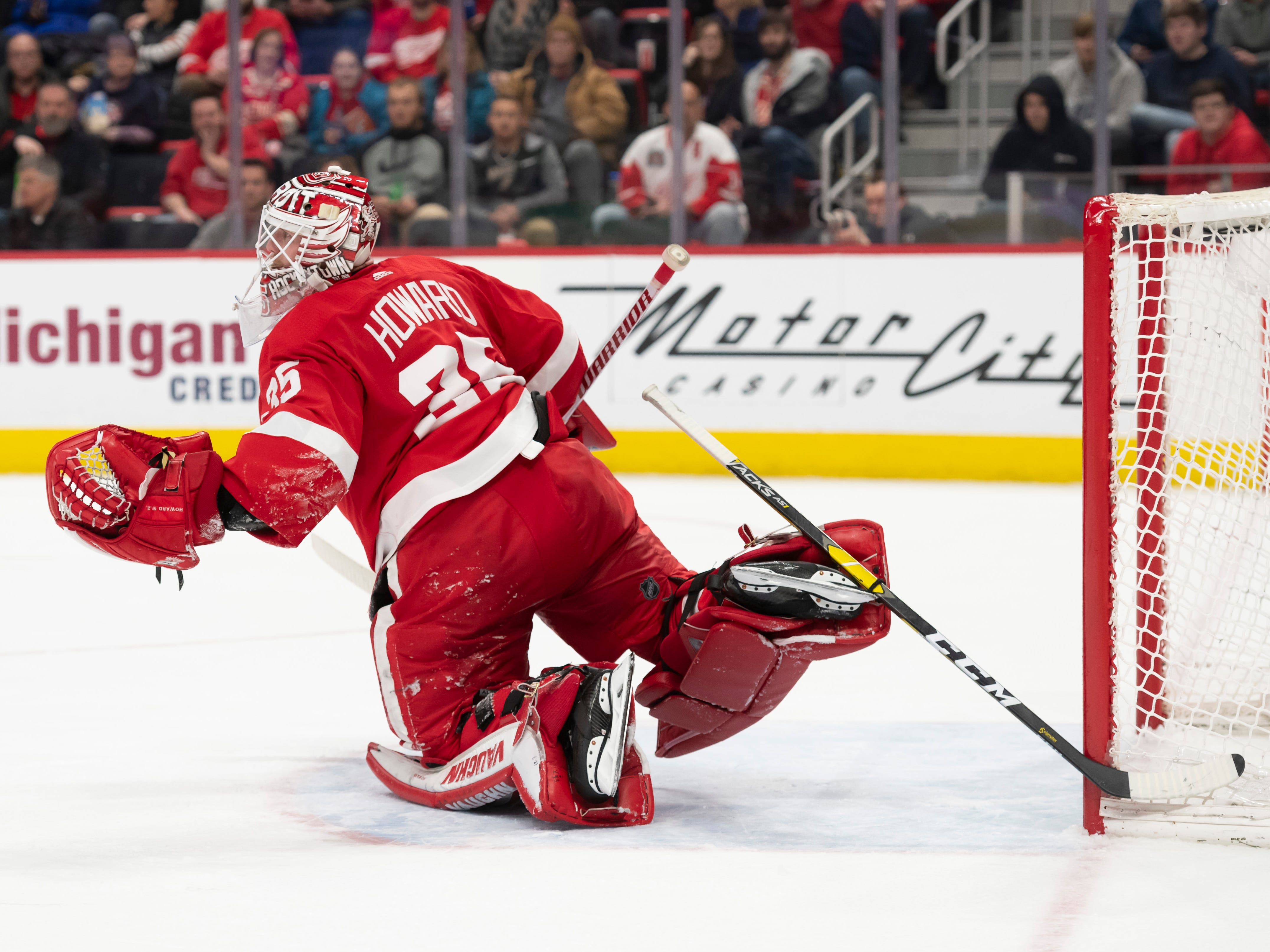 A stick belonging to Anaheim center Brian Gibbons ended up stuck in the skate of Detroit goaltender Jimmy Howard in the second period.
