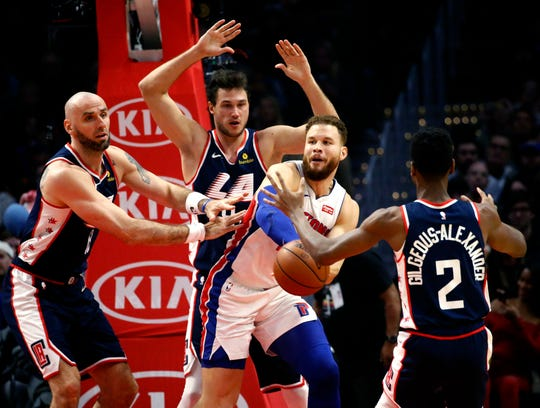The Pistons needed a monster performance from Blake Griffin, second from right, to salvage a win during their four-game West Coast swing.