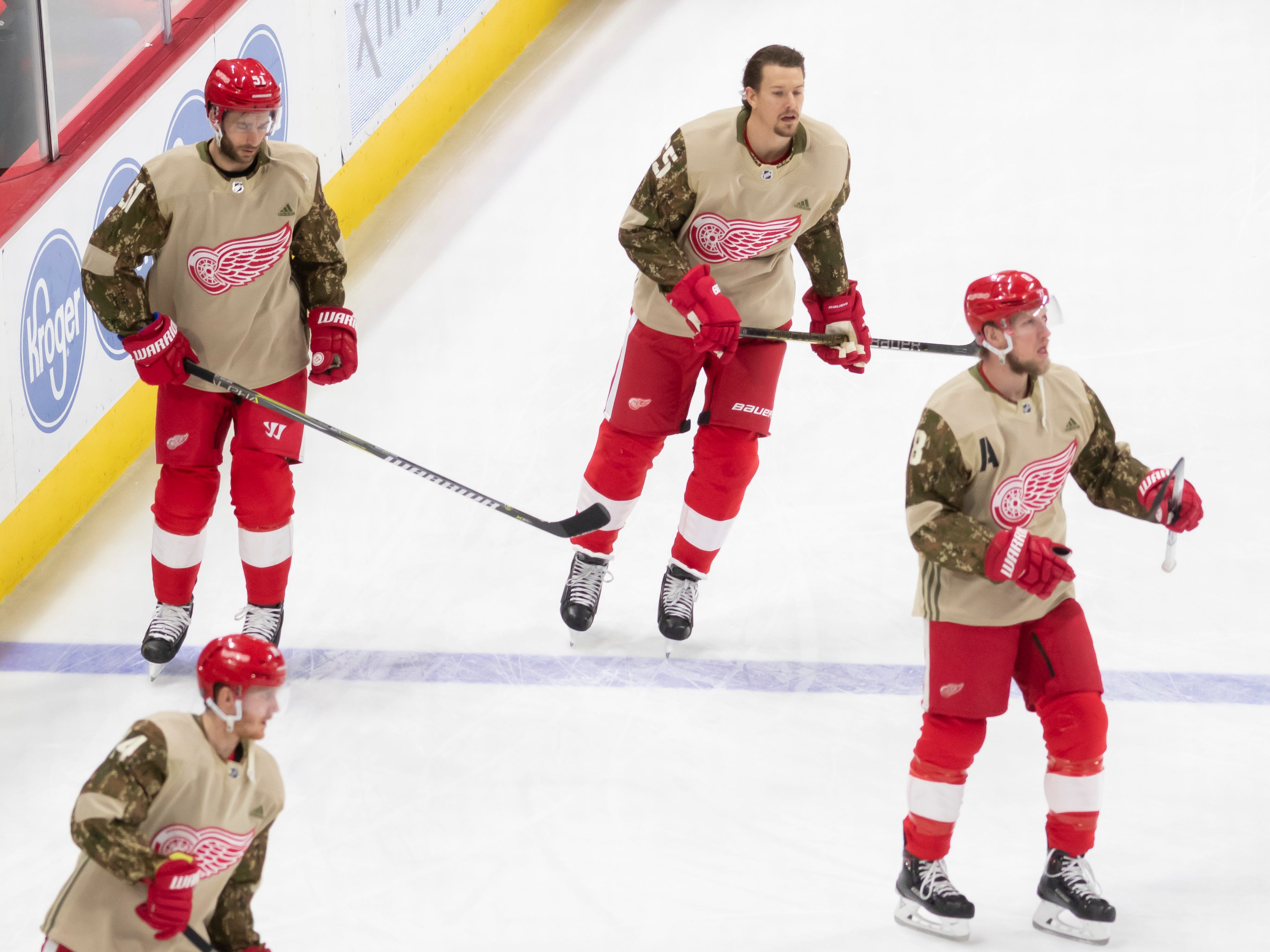 The Red Wings wore camouflage jerseys during warm ups as part of Military Appreciation Night, Tuesday, January 15, 2019, as they host the Anaheim Duck at Little Caesars Arena in Detroit.