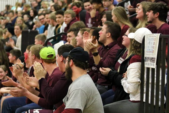 Fans cheer during the girls basketball game between Odessa-Montour and Watkins Glen on Jan. 15, 2019 at Watkins Glen High School.