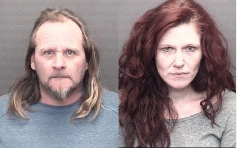 "Michael Hutchison and Shanna Oler were arrested on preliminary charges of burglary after deputies were called to a Vanderburgh County house for ""suspicious subjects""."