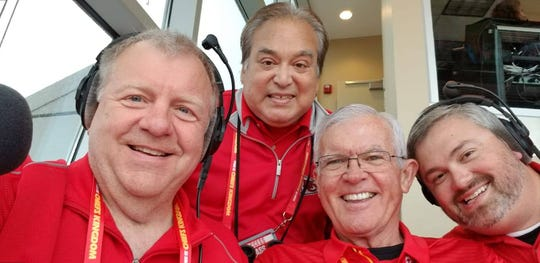 Dale Carter (left) is the Arrowhead Stadium announcer for Kansas City Chiefs home games.