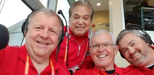 Dale Carter (left) is the Arrowhead Stadium announcer for Kansas City Chiefs home games.