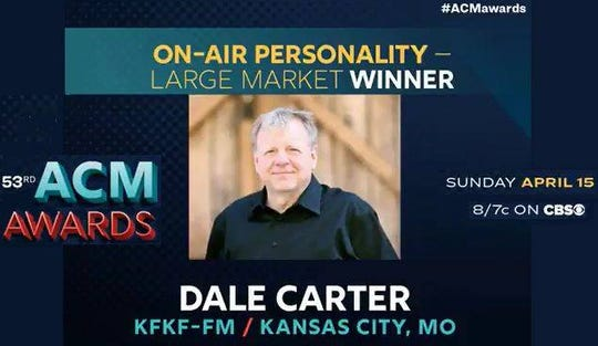 Dale Carter won an Academy of Country Music award for on air personality in a large market for this work at KFKF-FM.