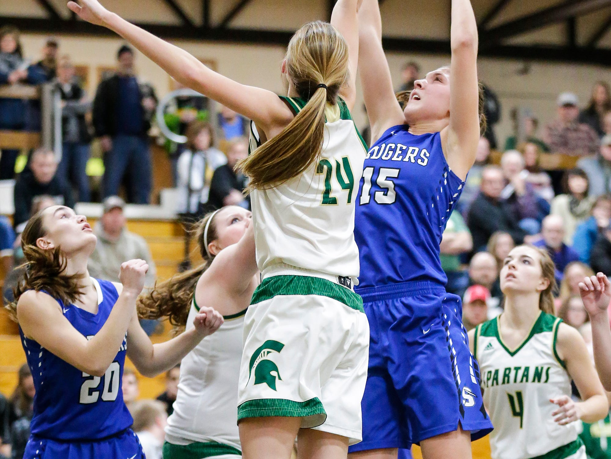St. Mary's Springs Academy girls basketball's Maddie Gehring goes up for a basket against Laconia High School's Maci Grade Tuesday, January 15, 2019 during their game in Rosendale. Laconia won the game 57-45. Doug Raflik/USA TODAY NETWORK-Wisconsin