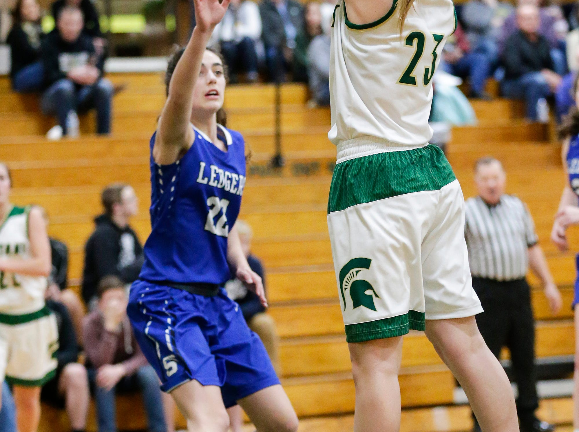 Laconia High School girls basketball's Harper Wurtz takes a shot against St. Mary's Springs Academy Tuesday, January 15, 2019 during their game in Rosendale. Laconia won the game 57-45. Doug Raflik/USA TODAY NETWORK-Wisconsin