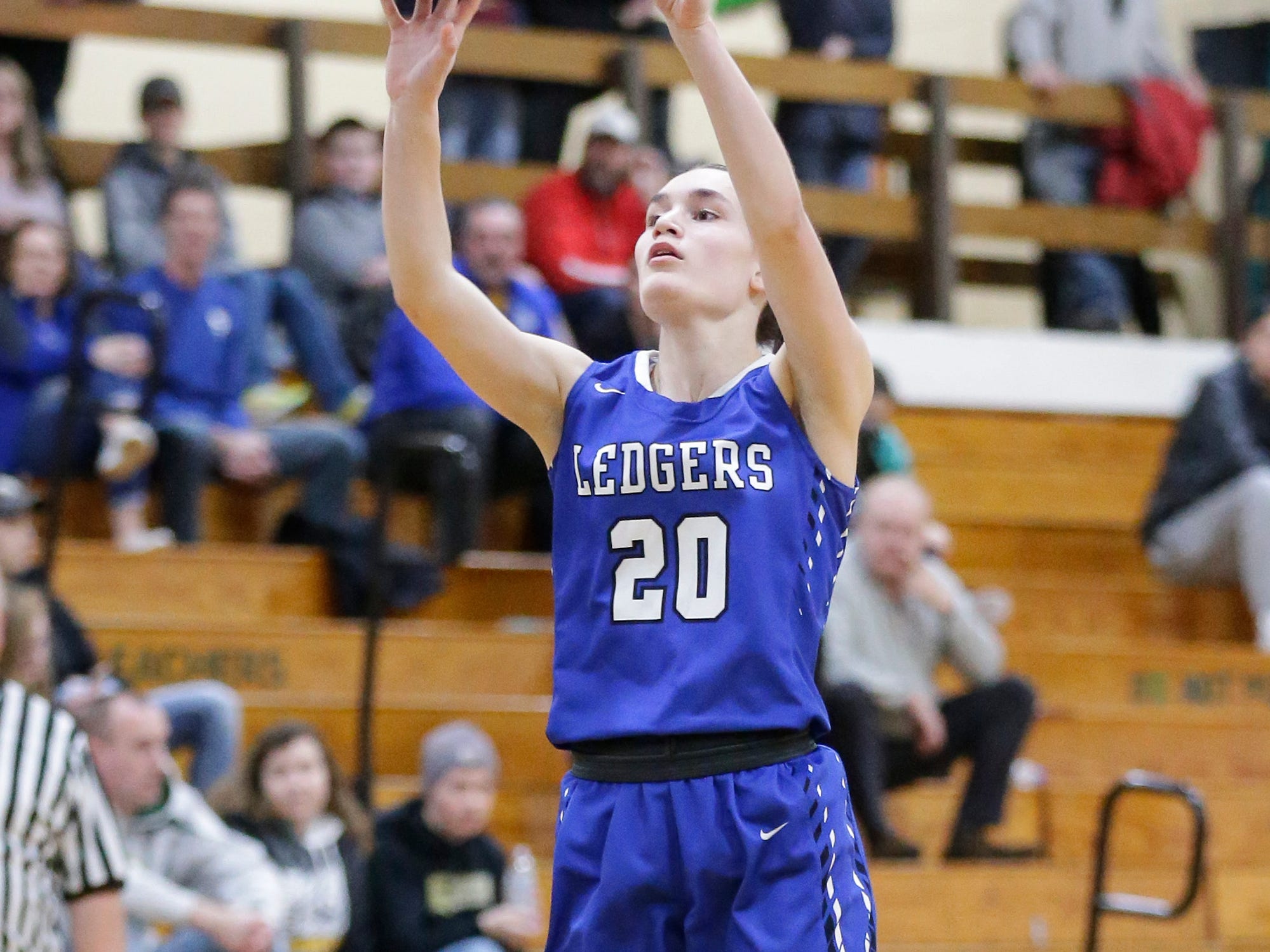 St. Mary's Springs Academy girls basketball's Jenna Gilgenbach makes this three pointer against Laconia High School Tuesday, January 15, 2019 during their game in Rosendale. Laconia won the game 57-45. Doug Raflik/USA TODAY NETWORK-Wisconsin