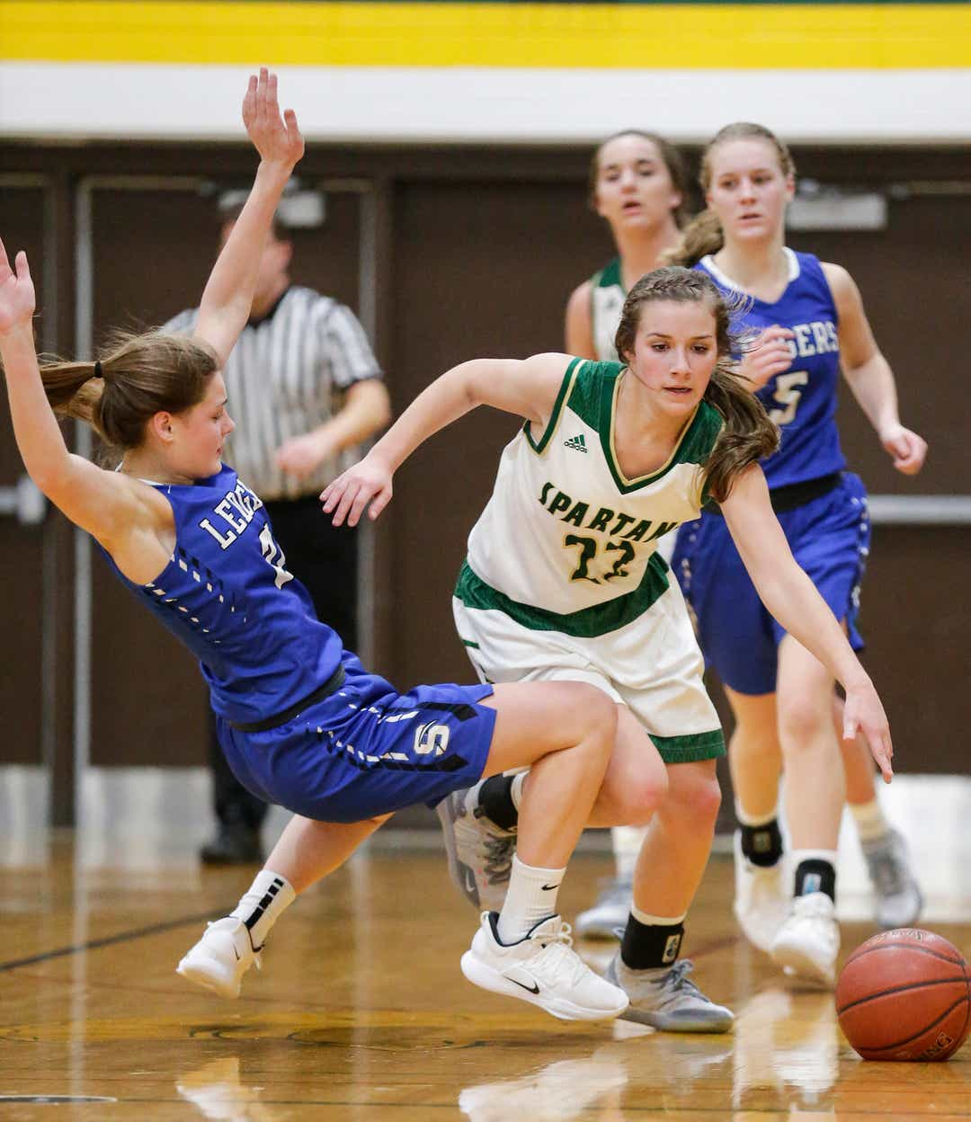 f3ee291d5ee St. Mary's Springs Academy girls basketball's Jennifer Chatterton gets  called for a foul while defending against Laconia High School's Haley  Rens Tuesday, ...