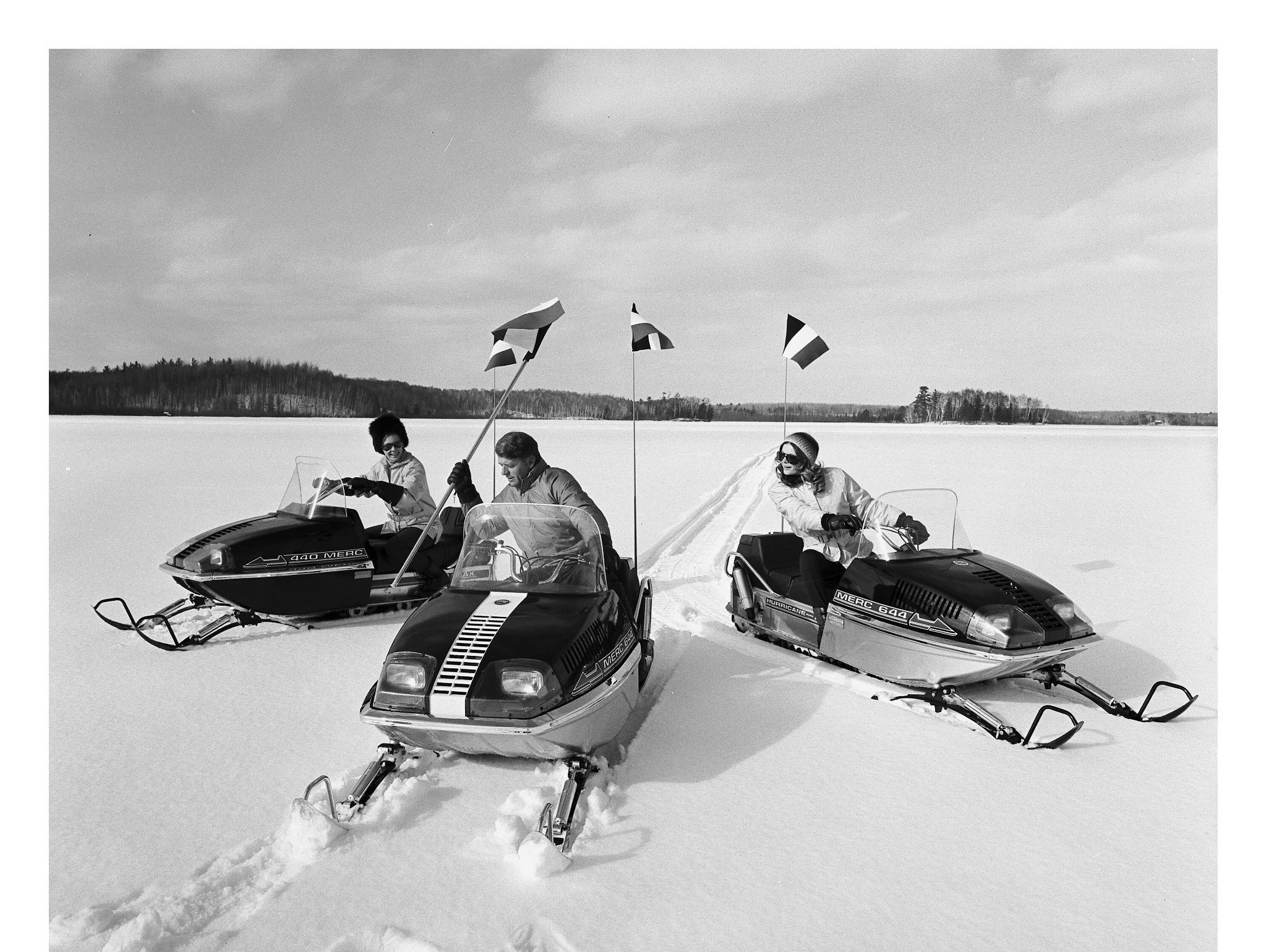 In the late 1960s, Mercury Marine produced snowmobiles, as pictured.