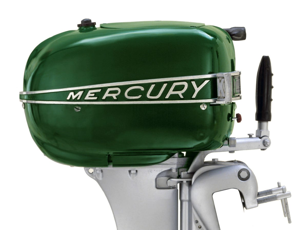 A 1947 Lightning Mercury Marine engine