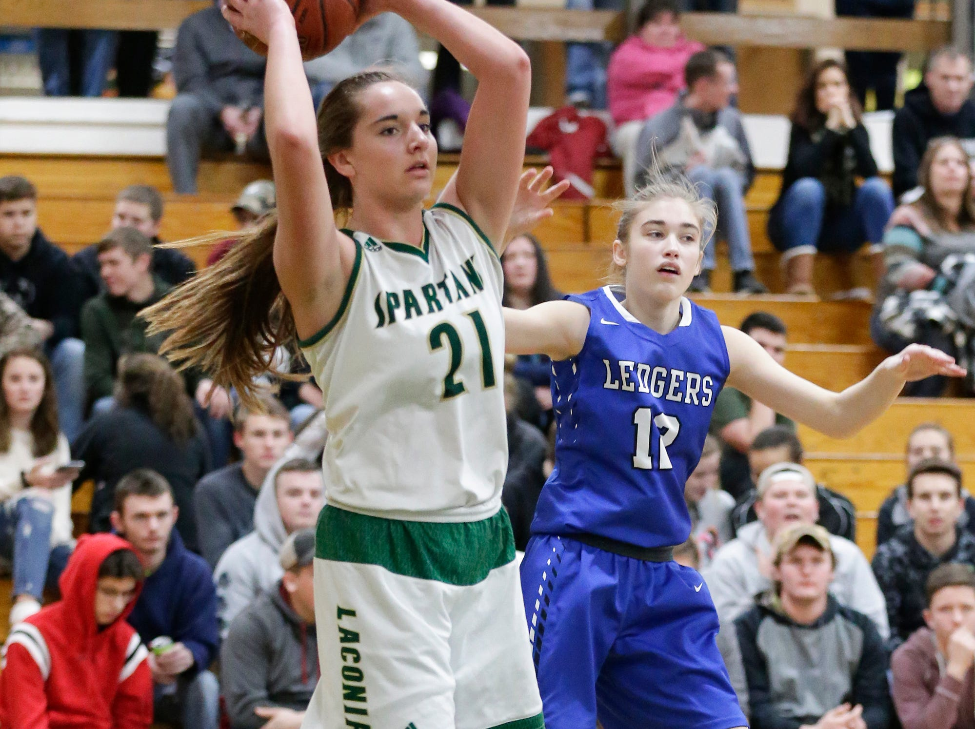 Laconia High School girls basketball's Alissa Dins looks to pass the ball against St. Mary's Springs Academy Tuesday, January 15, 2019 during their game in Rosendale. Laconia won the game 57-45. Doug Raflik/USA TODAY NETWORK-Wisconsin