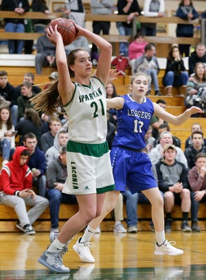 Laconia's Alissa Dins looks to pass the ball against Fond du Lac Springs during a January game.