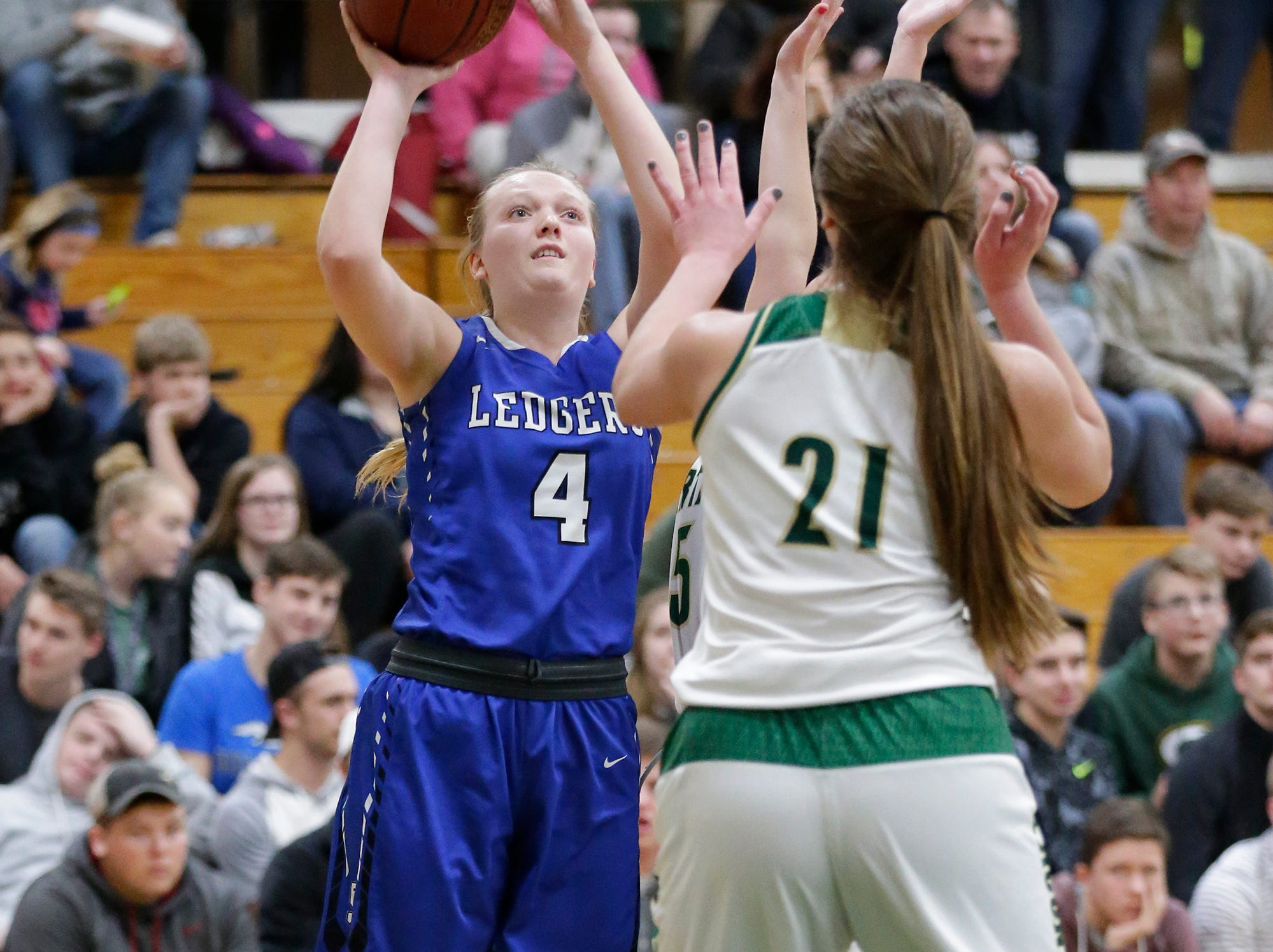 St. Mary's Springs Academy girls basketball's Brianna Freund goes up for a basket against Laconia High School Tuesday, January 15, 2019 during their game in Rosendale. Laconia won the game 57-45. Doug Raflik/USA TODAY NETWORK-Wisconsin