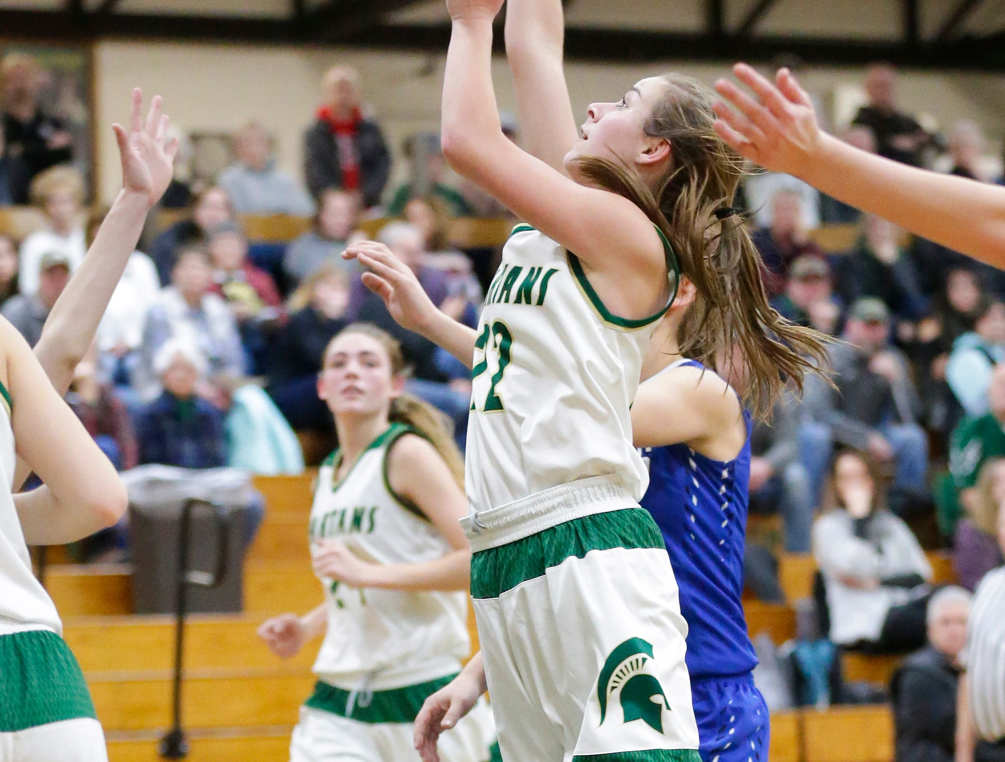 Laconia High School girls basketball's Haley Rens goes up for a basket against St. Mary's Springs Academy Tuesday, January 15, 2019 during their game in Rosendale. Laconia won the game 57-45. Doug Raflik/USA TODAY NETWORK-Wisconsin