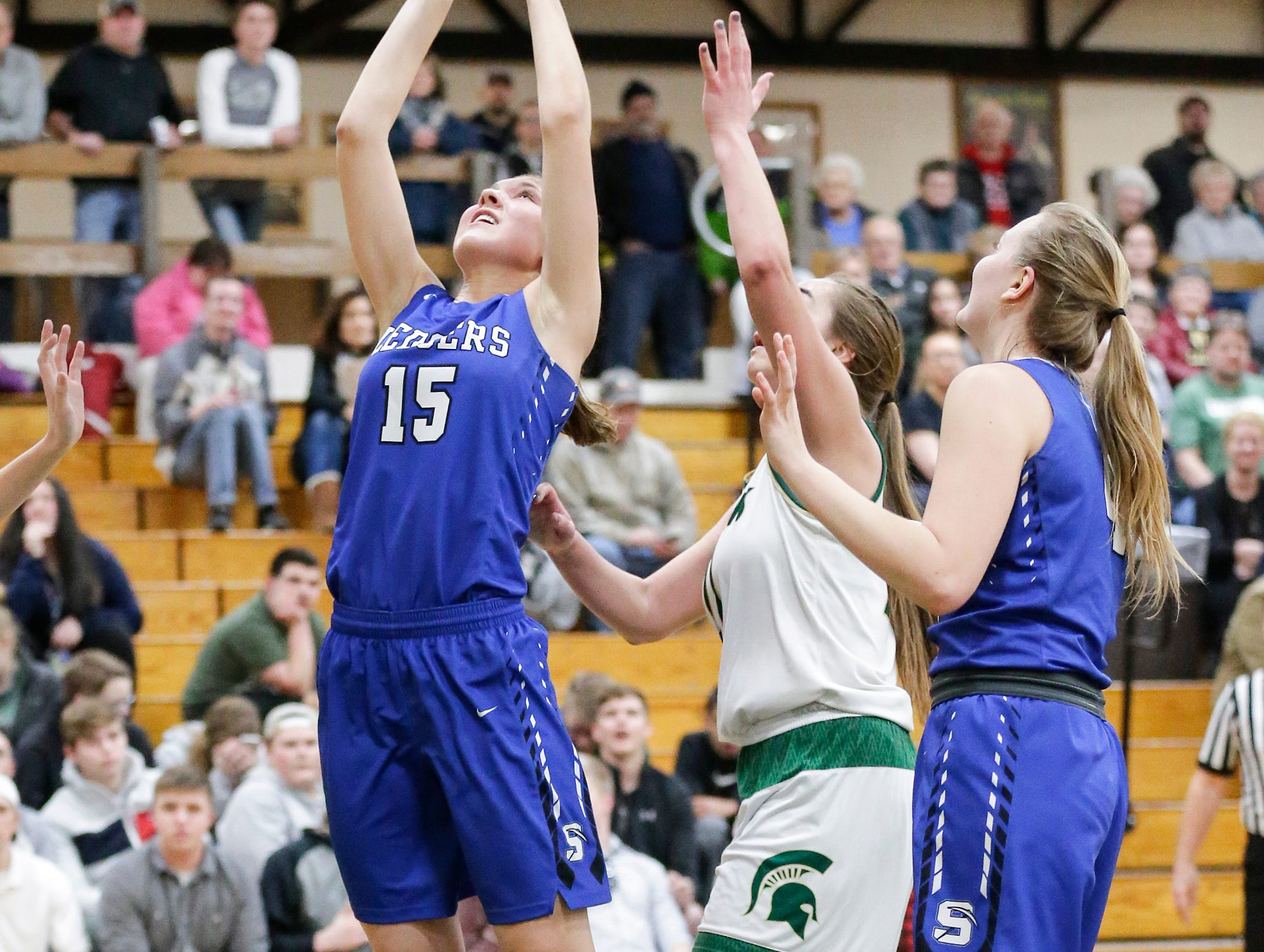 St. Mary's Springs Academy girls basketball's Maddie Gehring makes this basket against Laconia High School Tuesday, January 15, 2019 during their game in Rosendale. Laconia won the game 57-45. Doug Raflik/USA TODAY NETWORK-Wisconsin