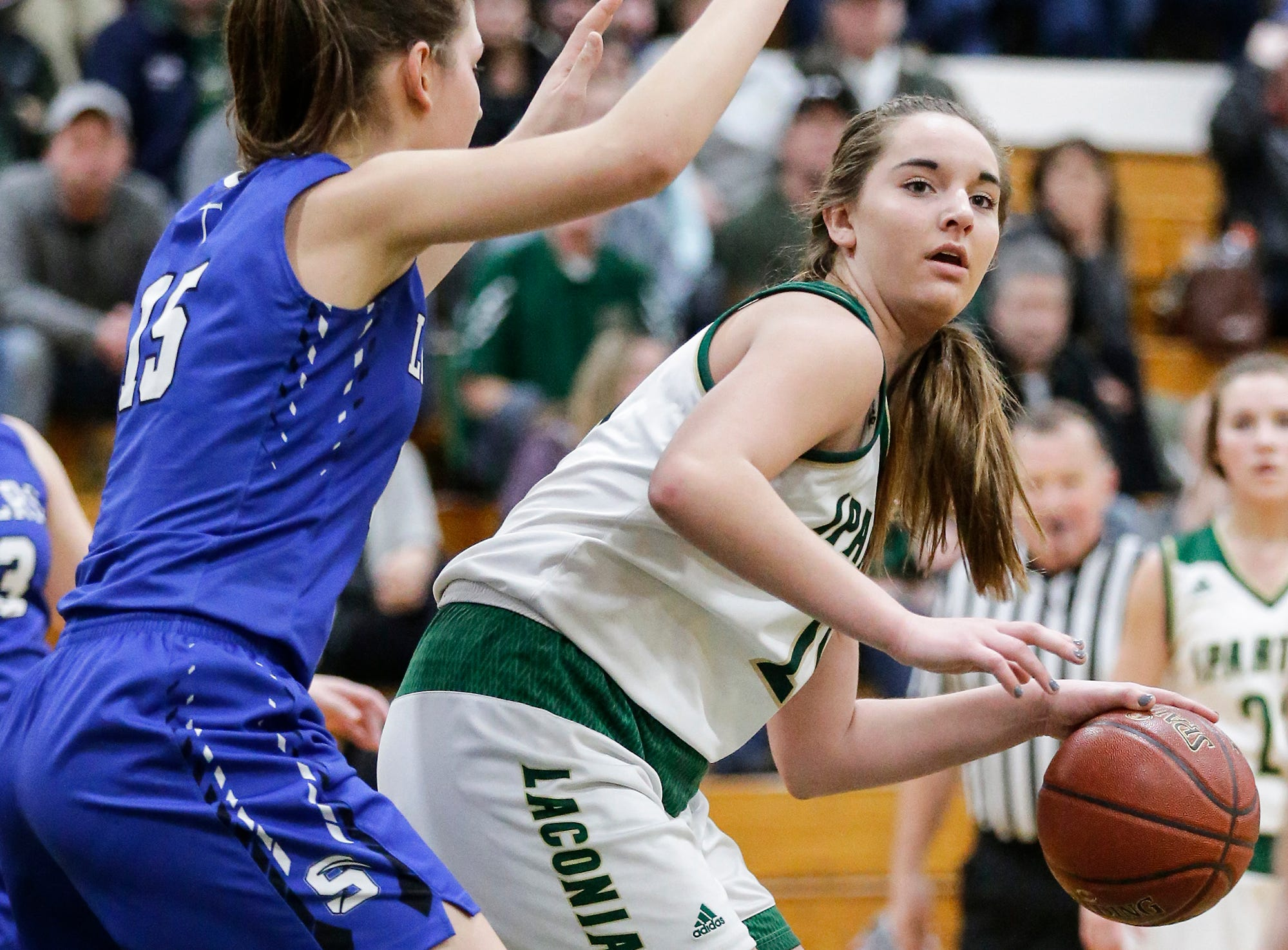 St. Mary's Springs Academy girls basketball's Maddie Gehring defends against Laconia High School's Alissa Dins Tuesday, January 15, 2019 during their game in Rosendale. Laconia won the game 57-45. Doug Raflik/USA TODAY NETWORK-Wisconsin