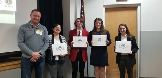 Fremont Rotary students of the month are, left to right, Roger Kuns, Fremont Rotary Club President Elect; Megan Steffen, Terra State Community College; Parker Lenz, Vanguard Career Center; Emma Jahns, Fremont Ross High School; and Emily Militello, Fremont St. Joseph Central Catholic High School.
