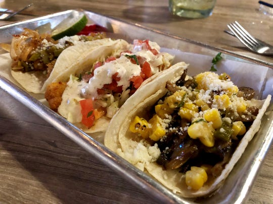 A trio of tacos from Felipe's Taqueria on Fort Myers Beach. From left: fried avocado, fried shrimp and roasted mushroom.