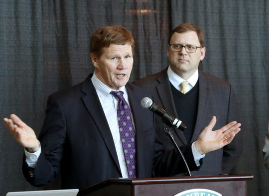 Green Bay Packers president Mark Murphy speaks during the launch of Give Big Green Bay on Wednesday in the Atrium at Lambeau Field. At right is Dennis Buehler, president and CEO of the Greater Green Bay Community Foundation.