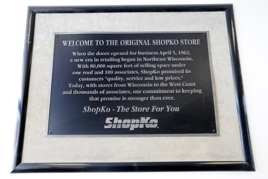 A sign by the entrance of the original Shopko store on Military Avenue in Green Bay.